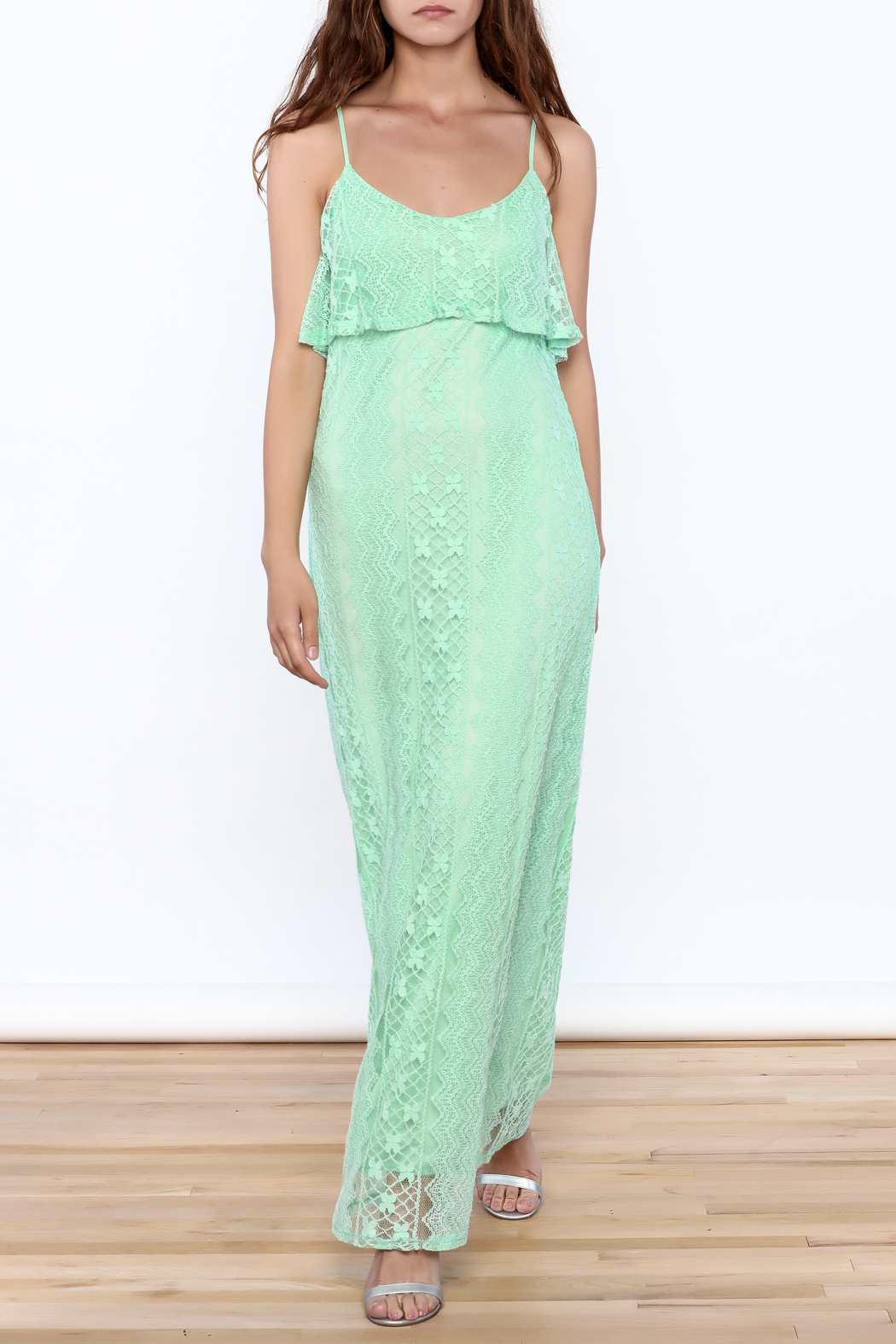 Honey Punch Lace Maxi Dress - Front Cropped Image