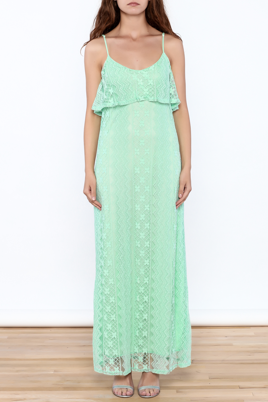 Honey Punch Lace Maxi Dress - Front Full Image