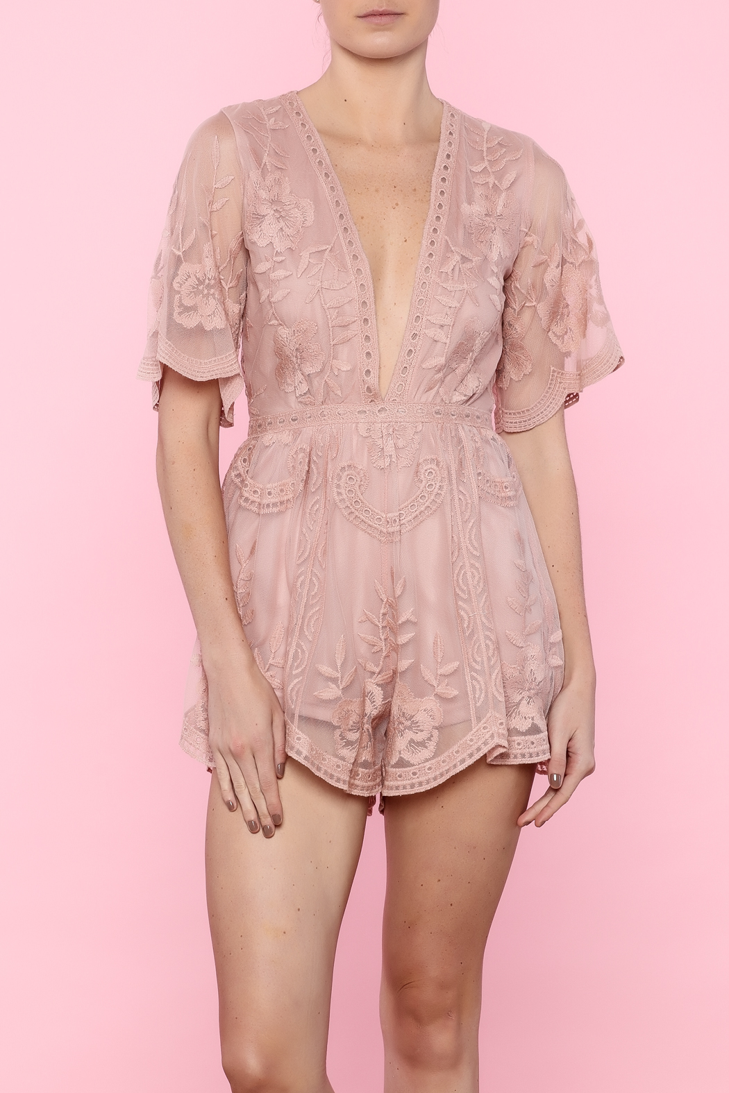 7277c06cc2b Honey Punch Lace Mesh Romper from New York by Dor L Dor — Shoptiques