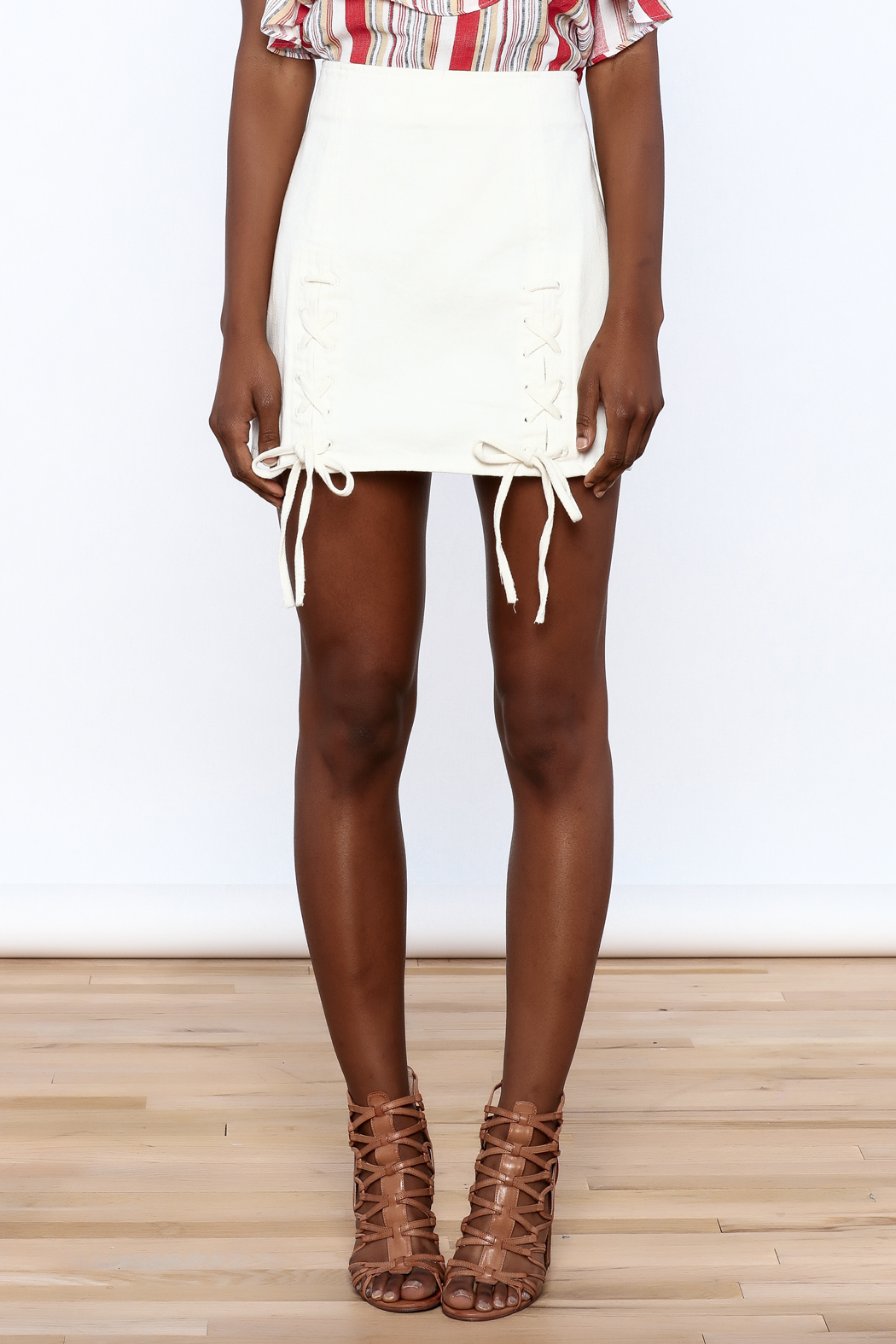 Honey Punch Lace Up Skirt - Side Cropped Image