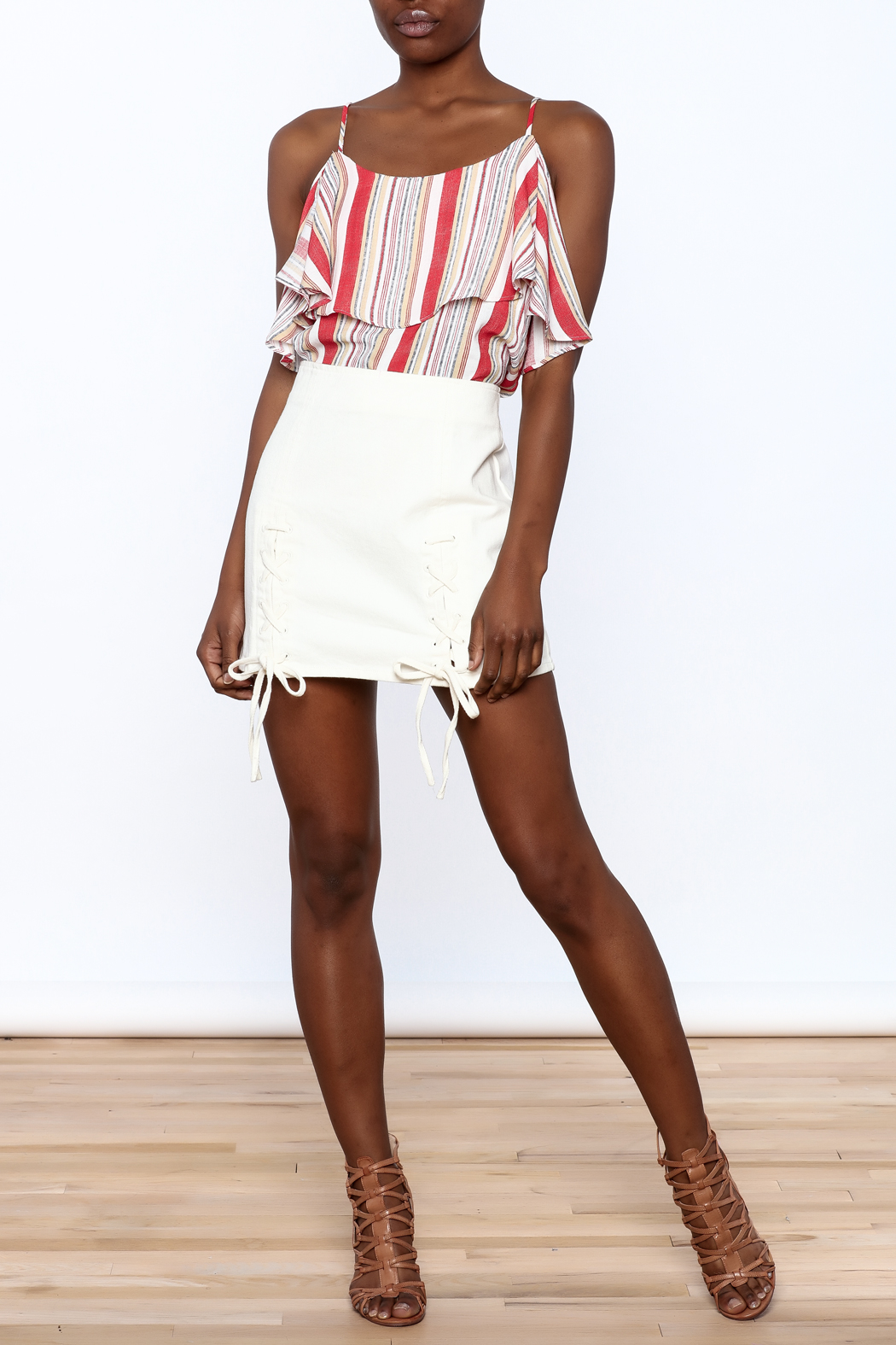 Honey Punch Lace Up Skirt - Front Full Image