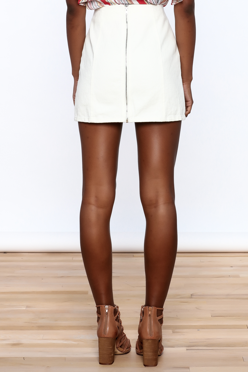 Honey Punch Lace Up Skirt - Back Cropped Image