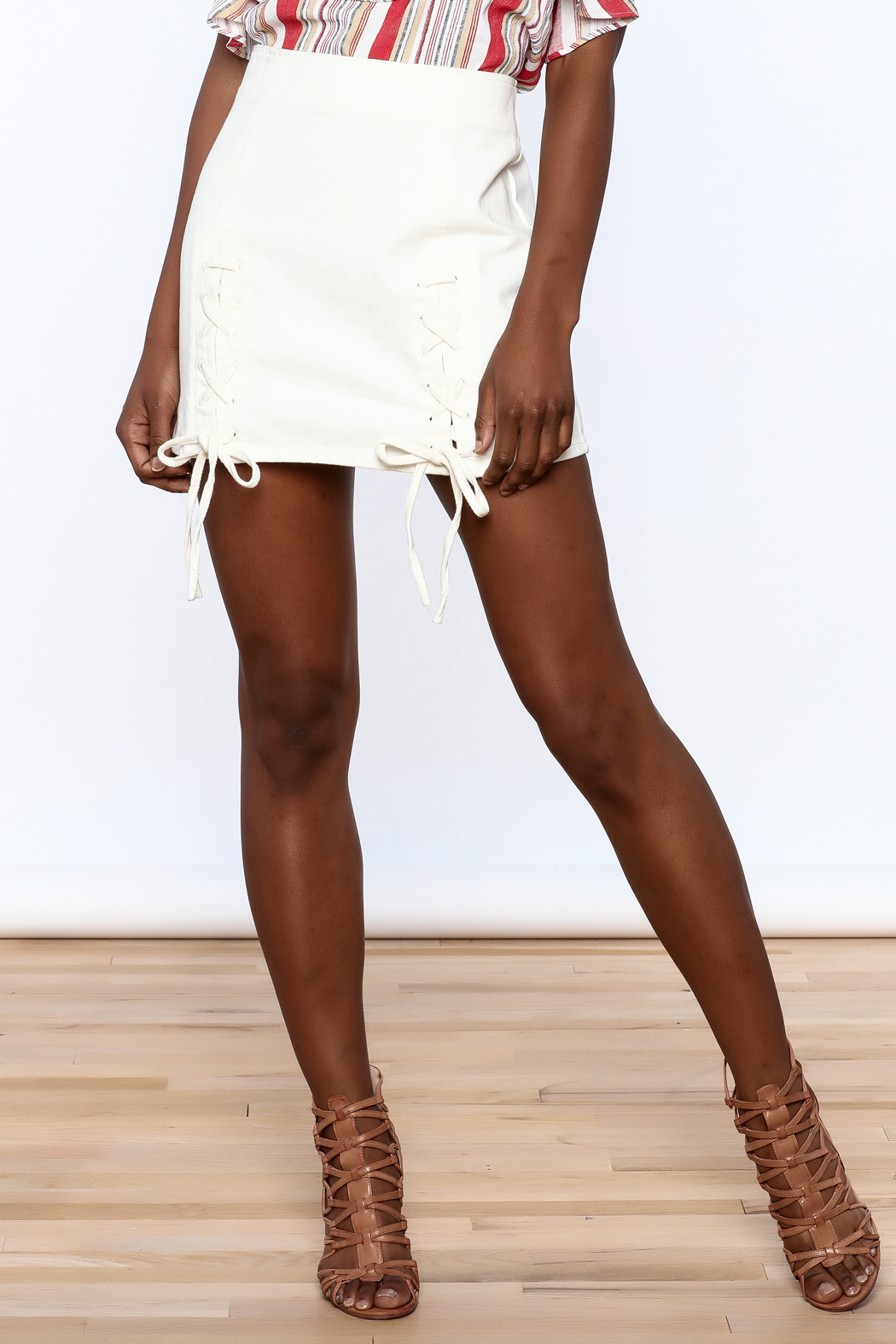 Honey Punch Lace Up Skirt - Main Image