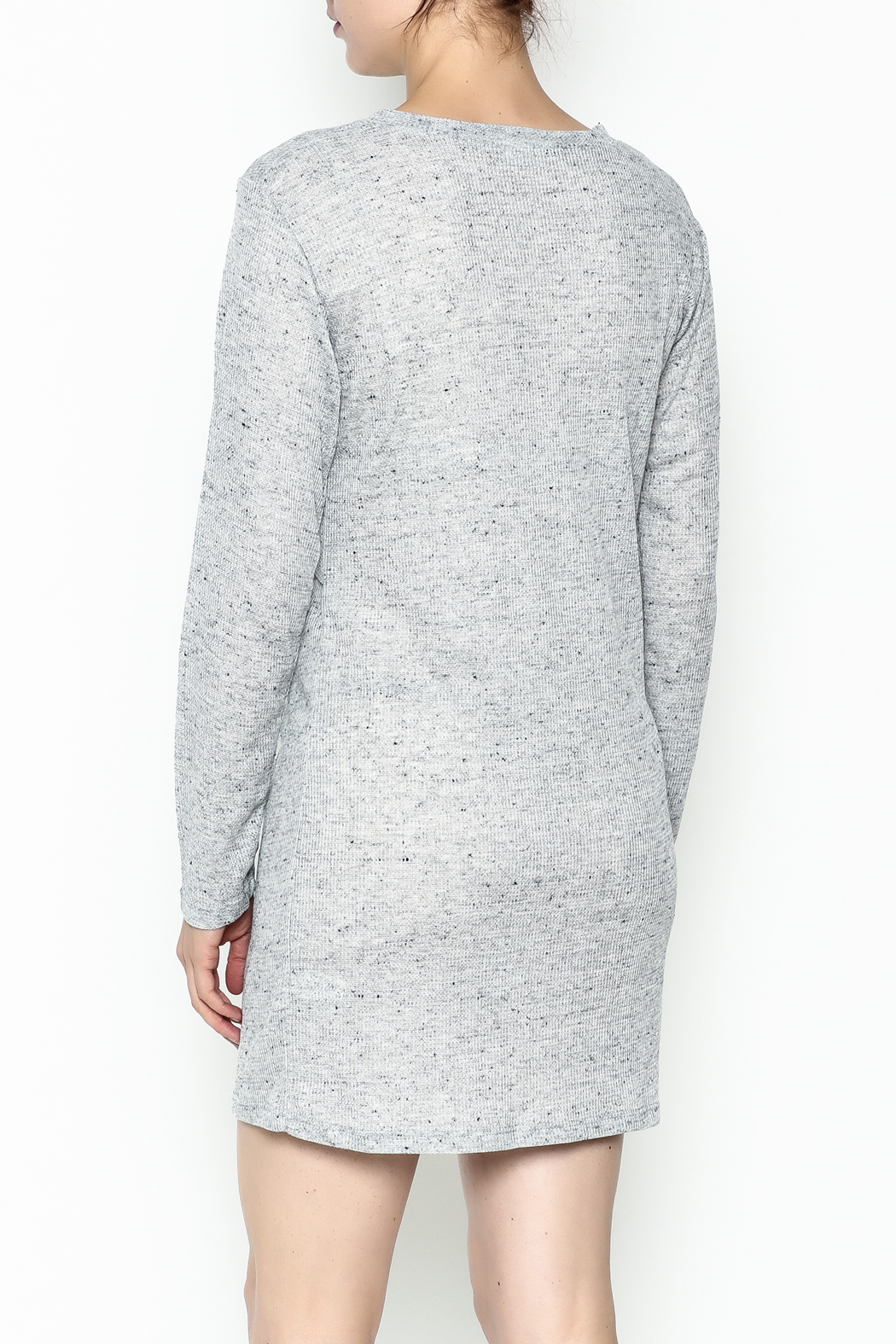 Honey Punch Long Sleeve Thermal Dress - Back Cropped Image