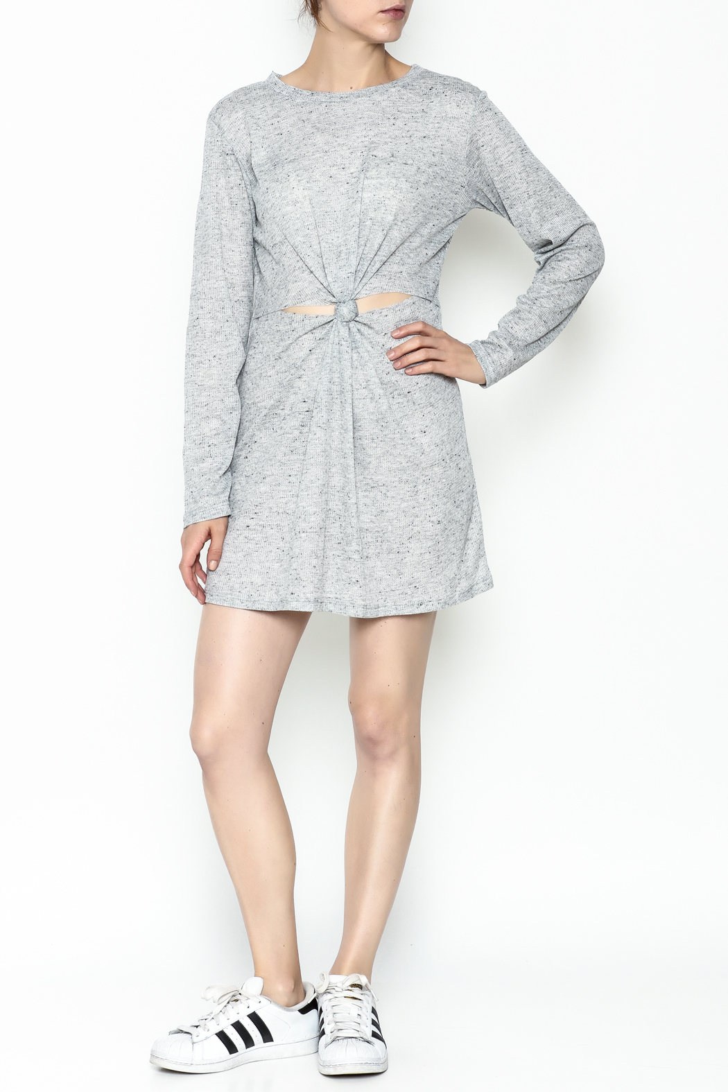 Honey Punch Long Sleeve Thermal Dress - Side Cropped Image