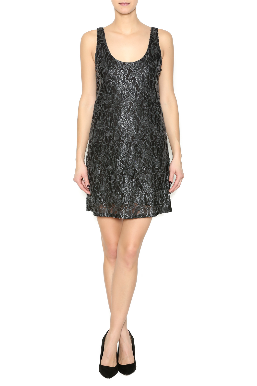 Honey Punch Matte Sequin Dress - Front Full Image