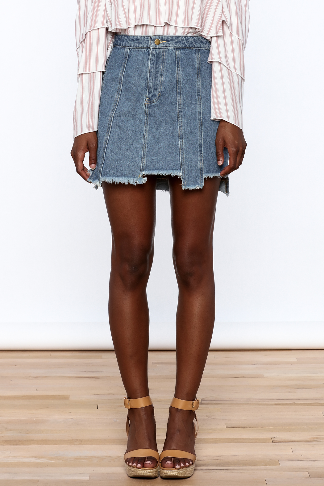 Honey Punch Multi Panel Denim Skirt - Side Cropped Image