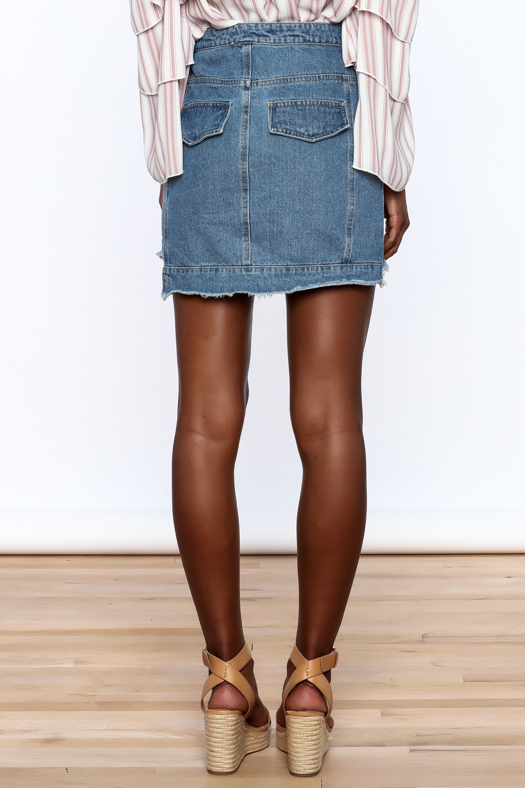 Honey Punch Multi Panel Denim Skirt - Back Cropped Image