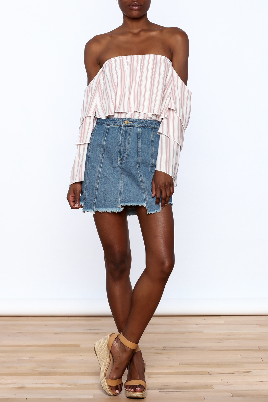 Honey Punch Multi Panel Denim Skirt - Front Full Image