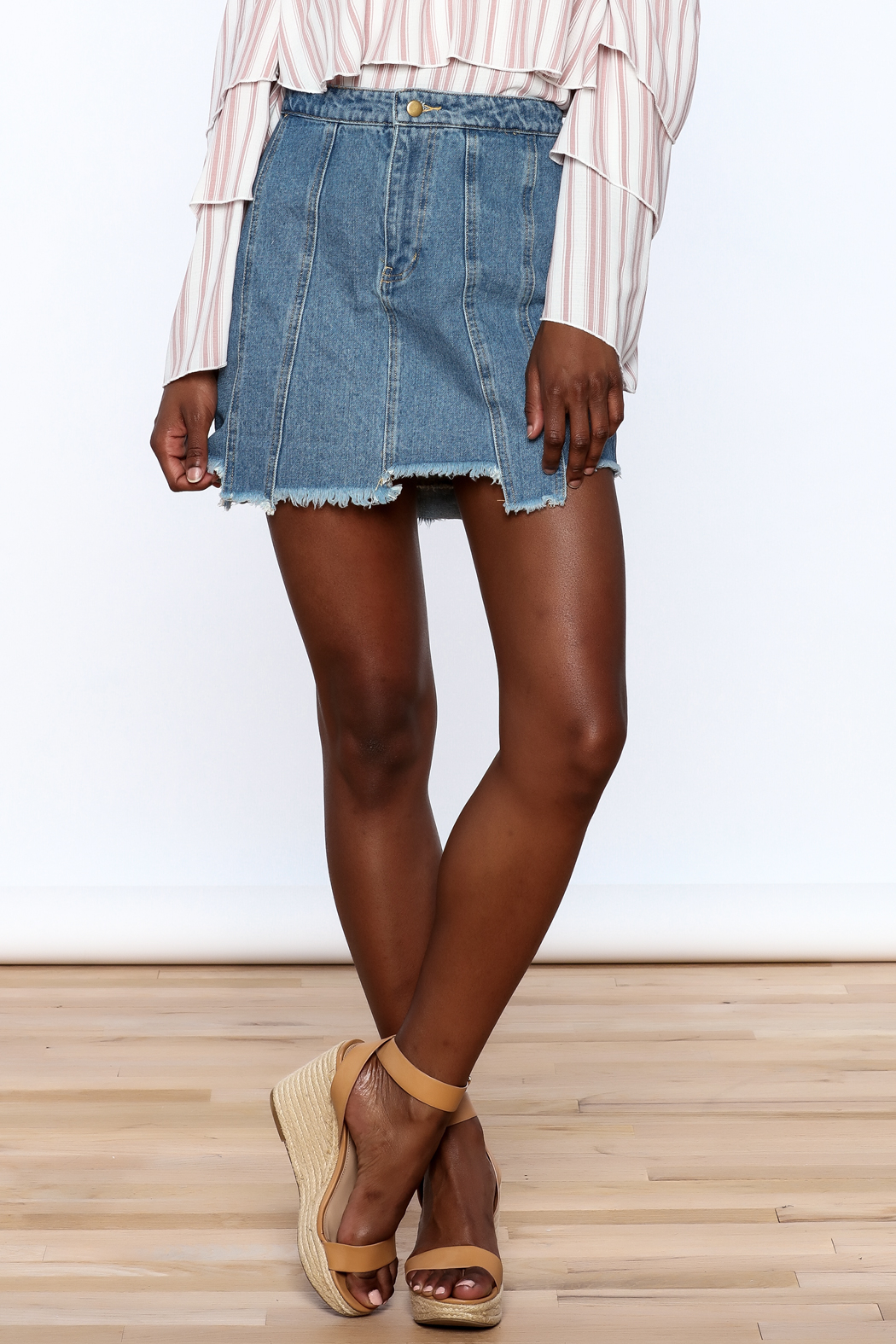 Honey Punch Multi Panel Denim Skirt - Front Cropped Image