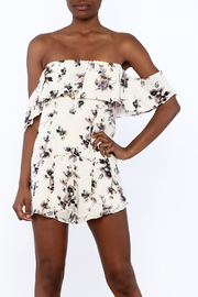 Honey Punch Beige Floral Romper - Product Mini Image
