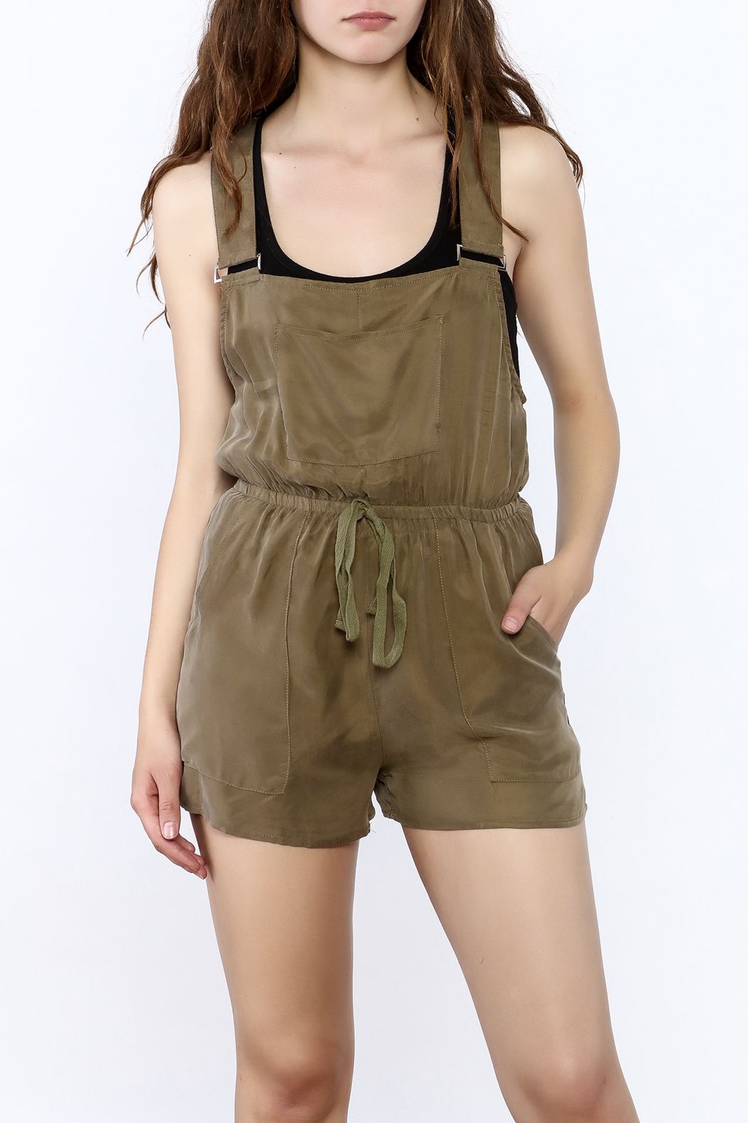 Honey Punch Olive Overall Romper - Front Cropped Image