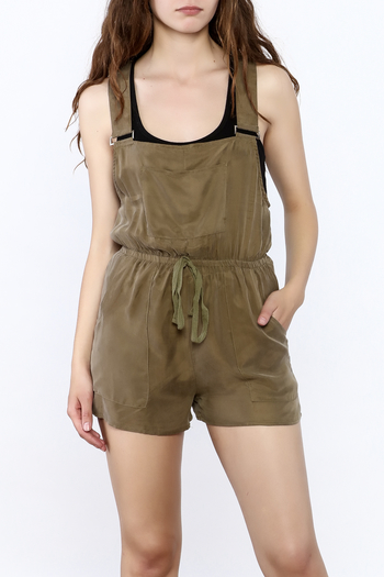 Honey Punch Olive Overall Romper - Main Image