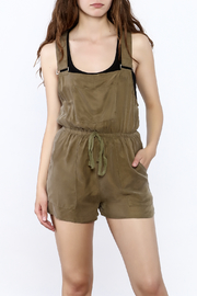 Honey Punch Olive Overall Romper - Front cropped