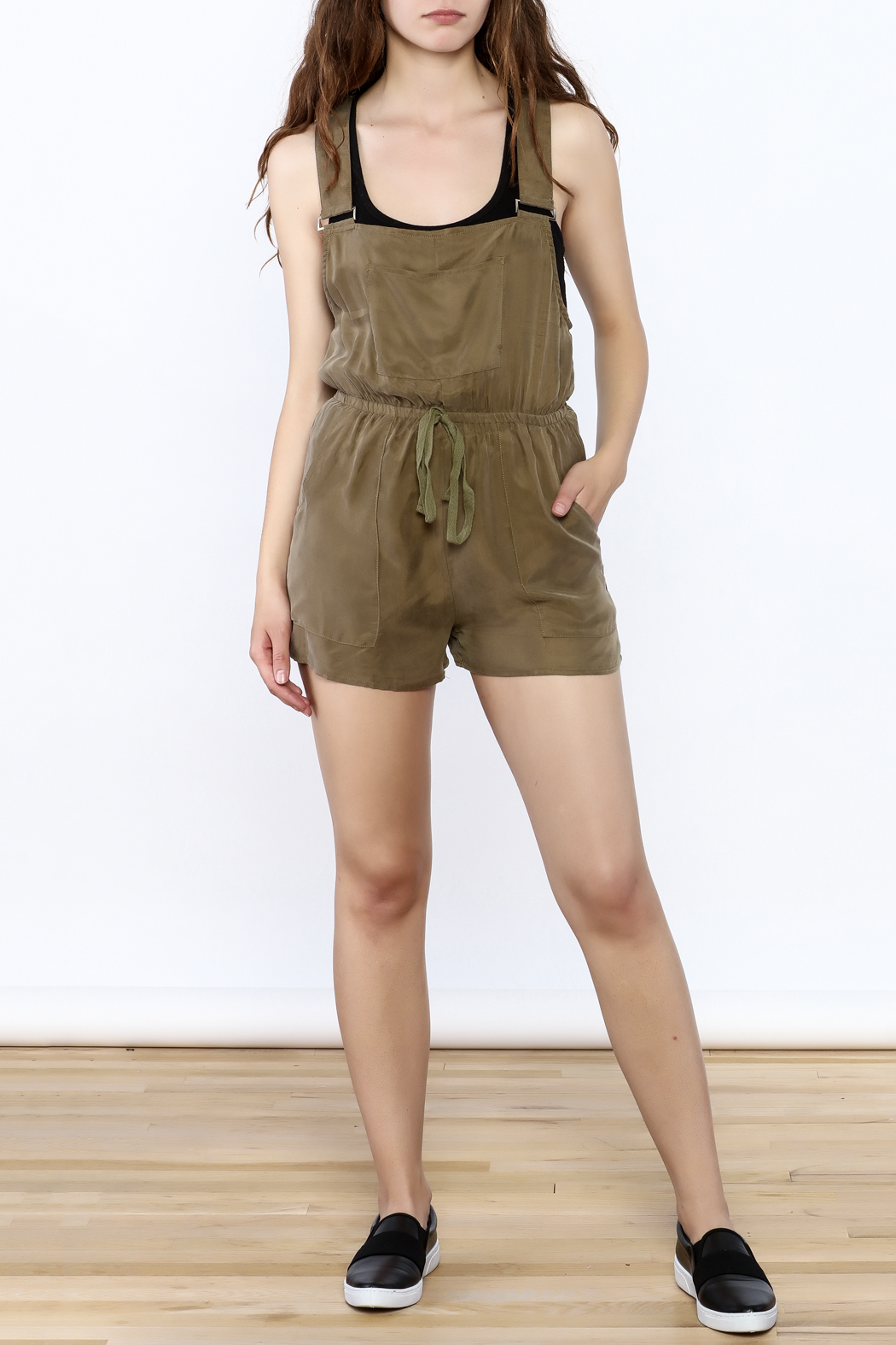 Honey Punch Olive Overall Romper - Front Full Image