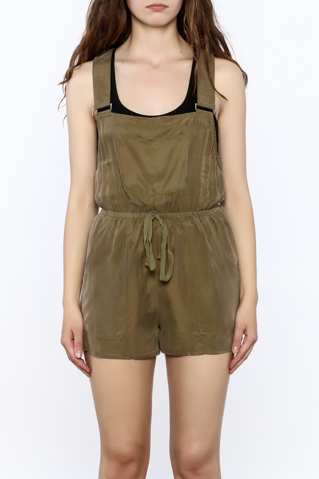 Honey Punch Olive Overall Romper - Side Cropped Image