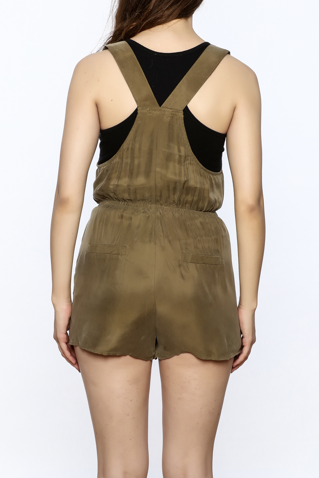Honey Punch Olive Overall Romper - Back Cropped Image