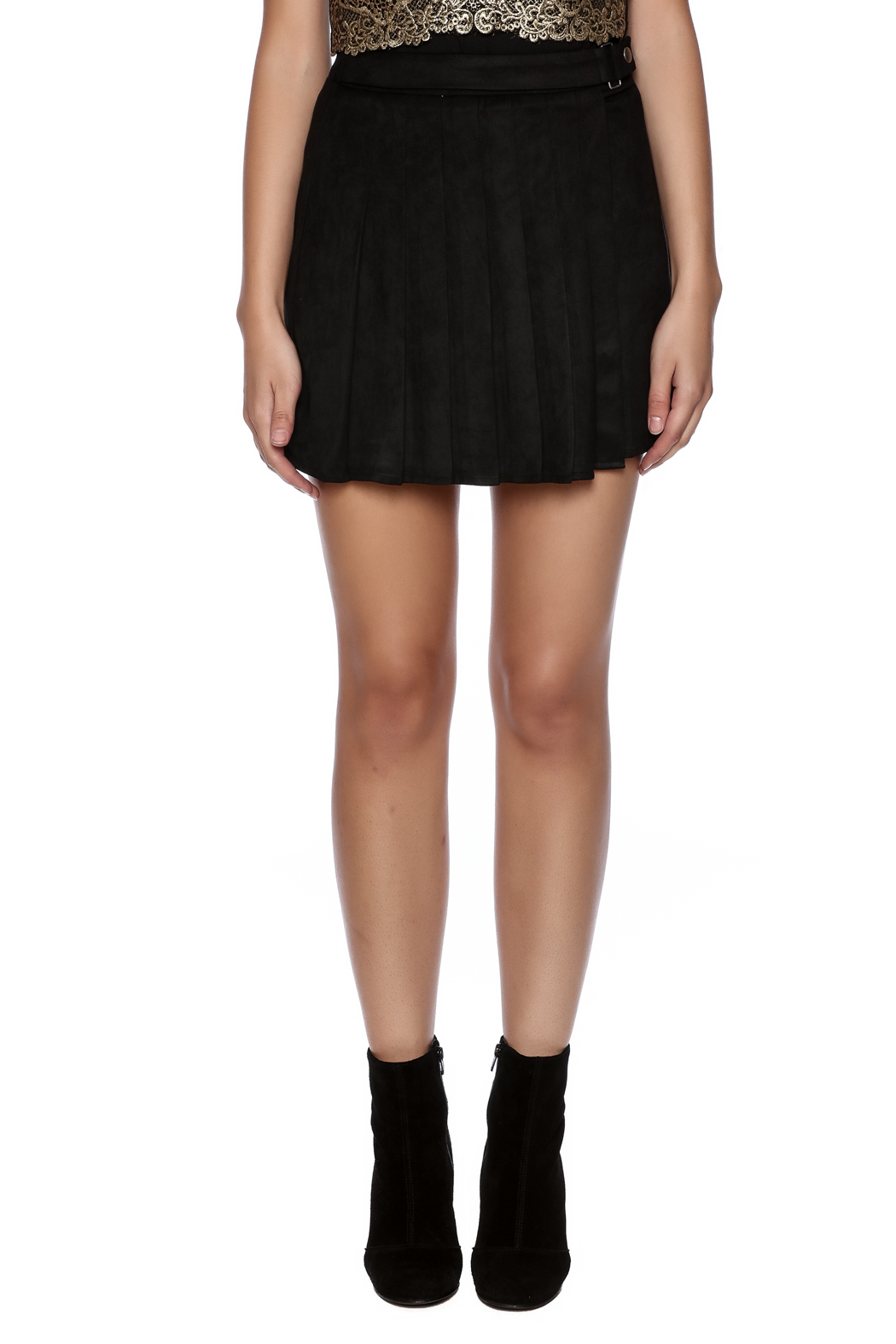 Honey Punch Pleated Skirt - Side Cropped Image