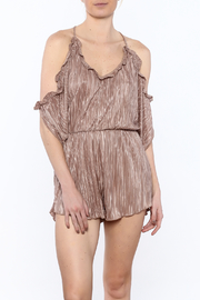 Honey Punch Mocha Pleated Romper - Product Mini Image