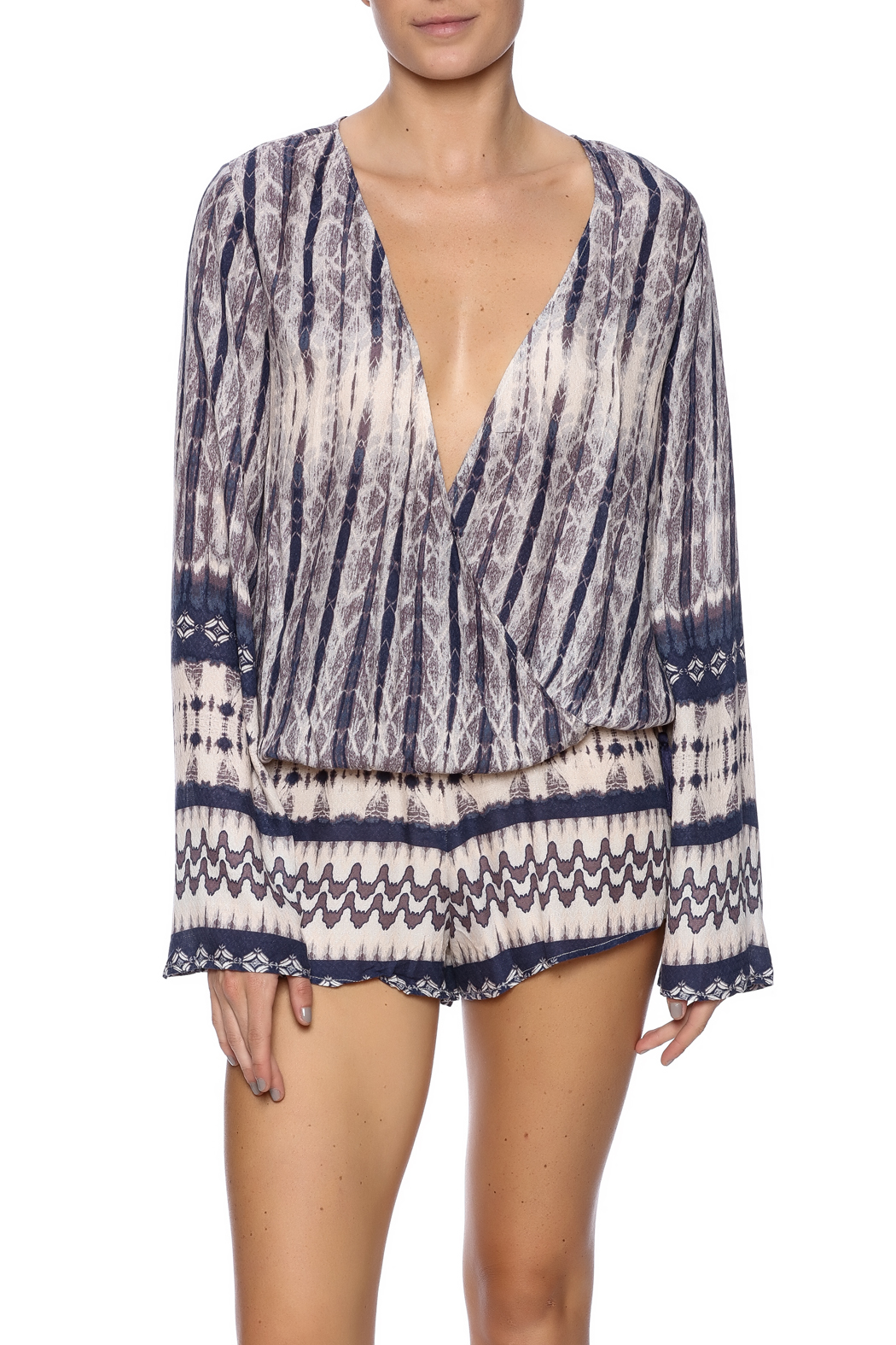 0e50bd36616f5 Honey Punch Print Wrap Top from New York by Dor L Dor — Shoptiques