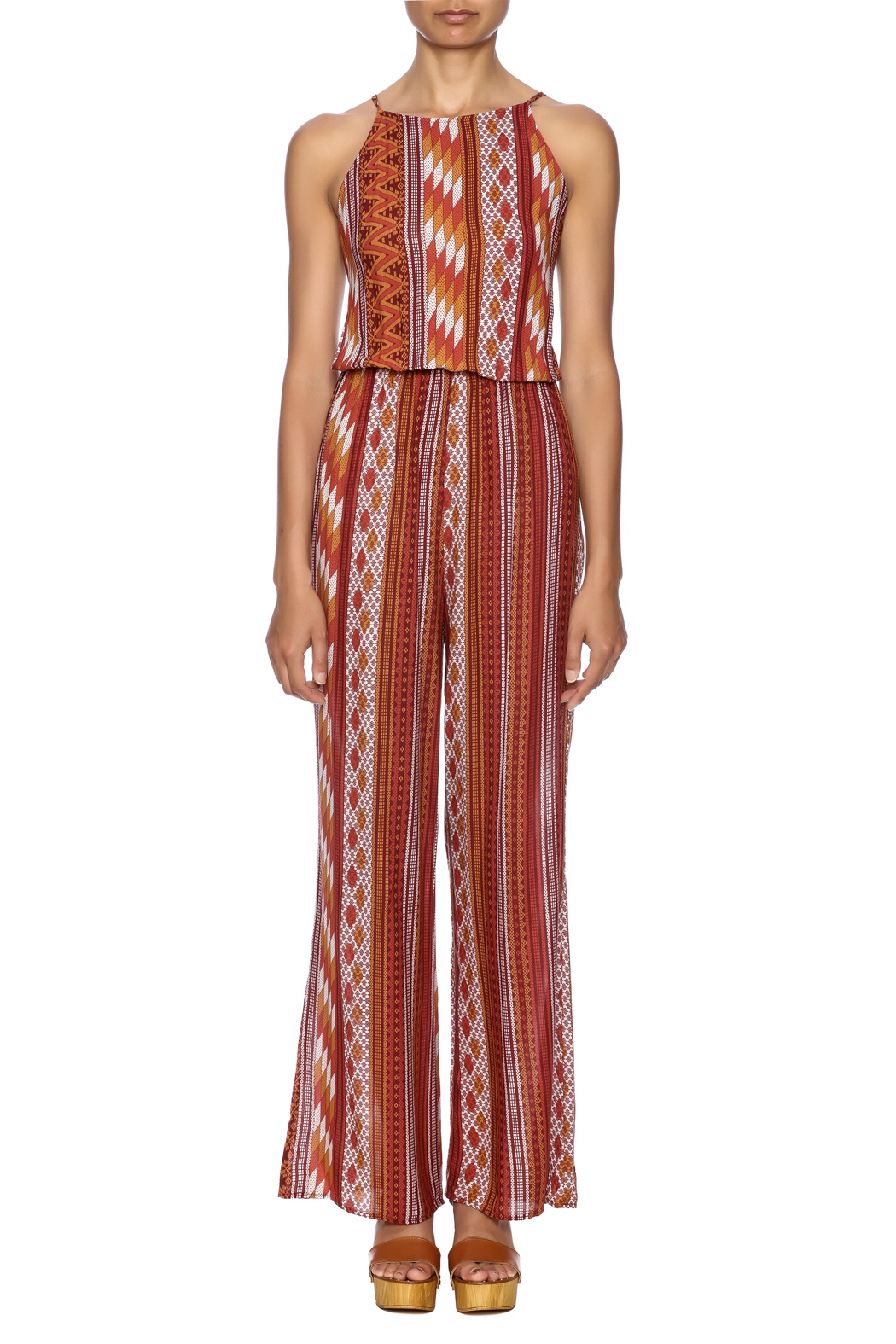 Honey Punch Rust Jumpsuit - Front Cropped Image