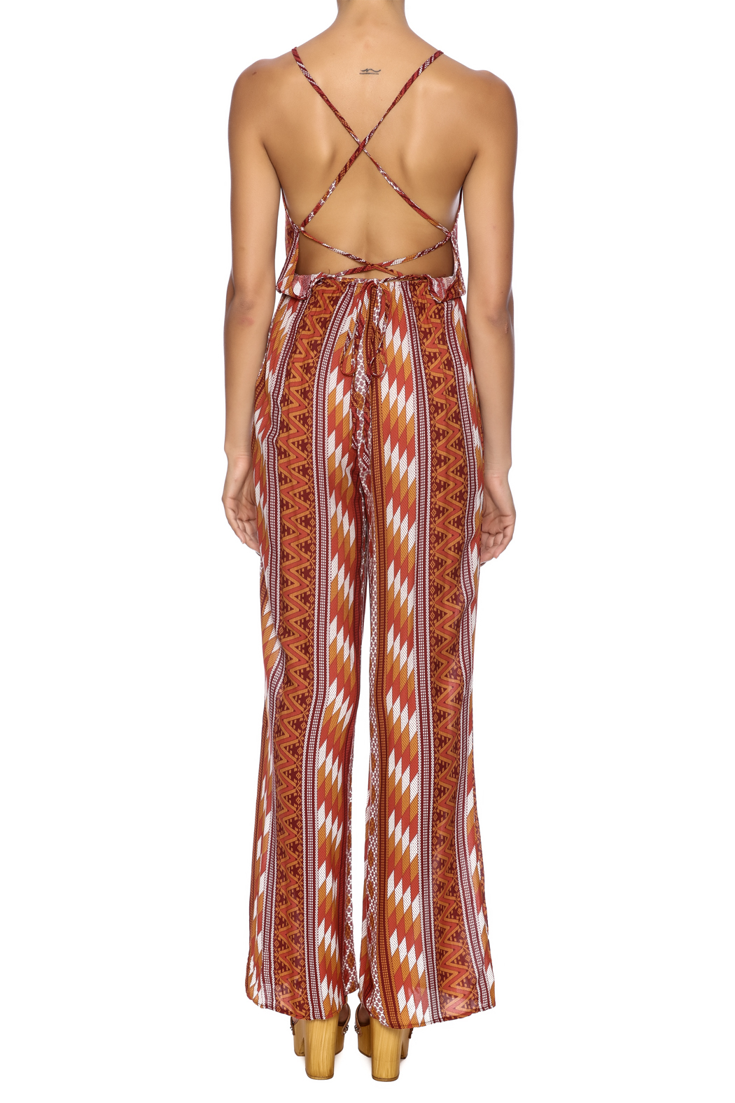 Honey Punch Rust Jumpsuit - Back Cropped Image