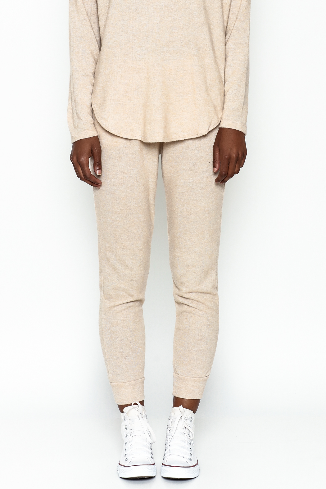 Honey Punch Soft Brushed Jersey Sweatpants - Front Full Image