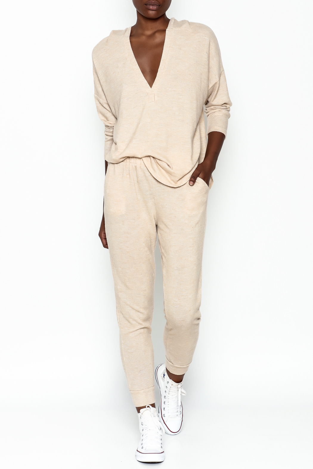 Honey Punch Soft Brushed Jersey Sweatpants - Side Cropped Image