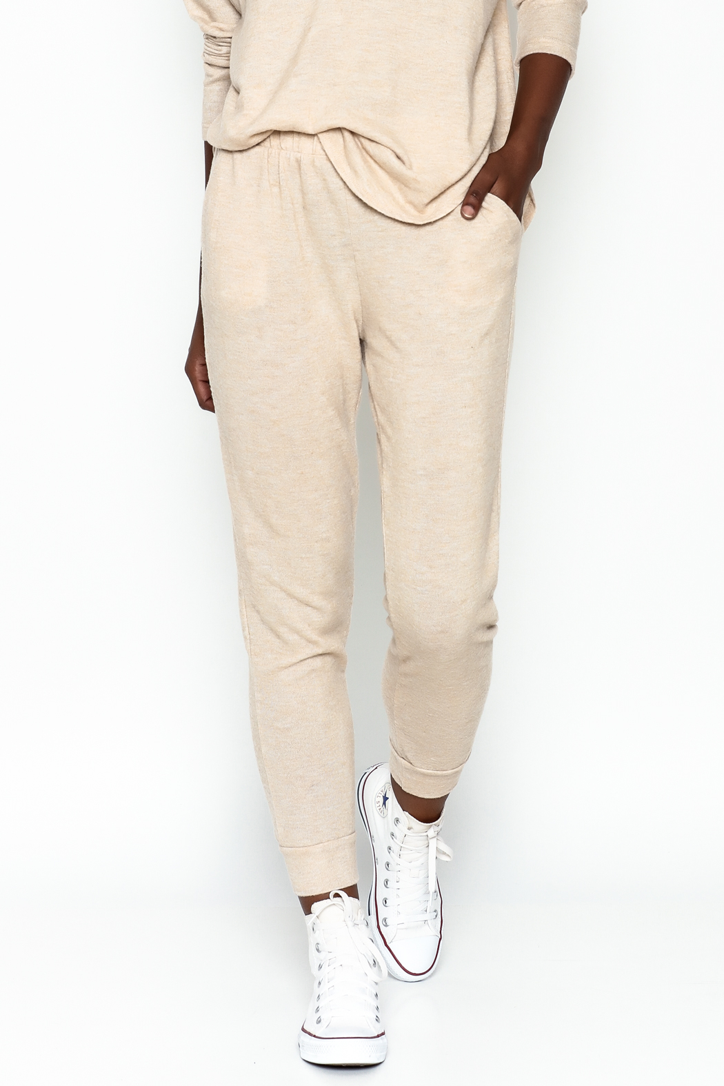 Honey Punch Soft Brushed Jersey Sweatpants - Front Cropped Image