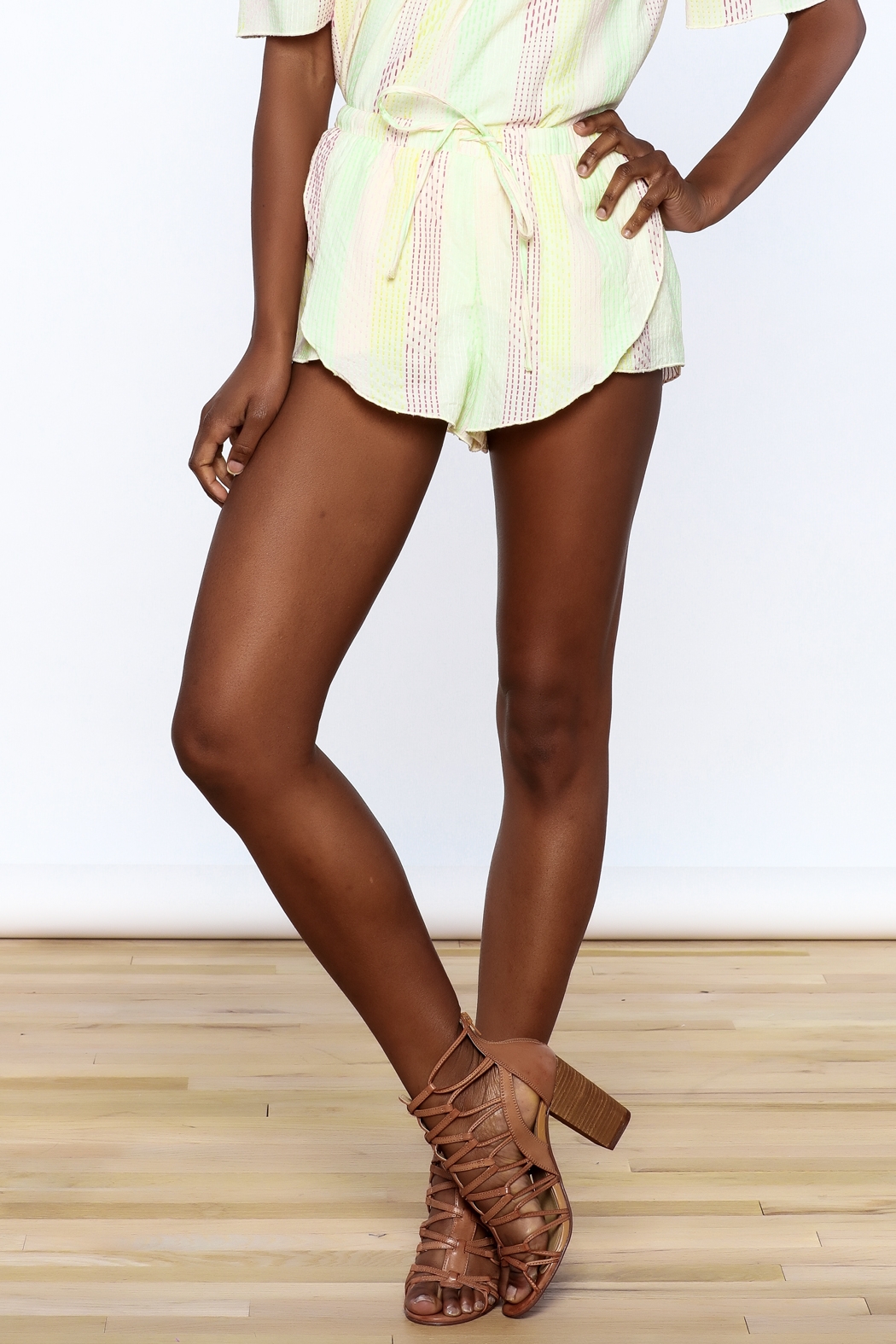 Honey Punch Yellow Stripe Print Shorts - Front Cropped Image
