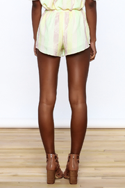 Honey Punch Yellow Stripe Print Shorts - Back cropped
