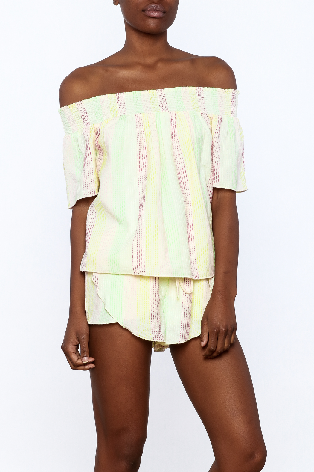 Honey Punch Yellow Stripe Print Top - Main Image
