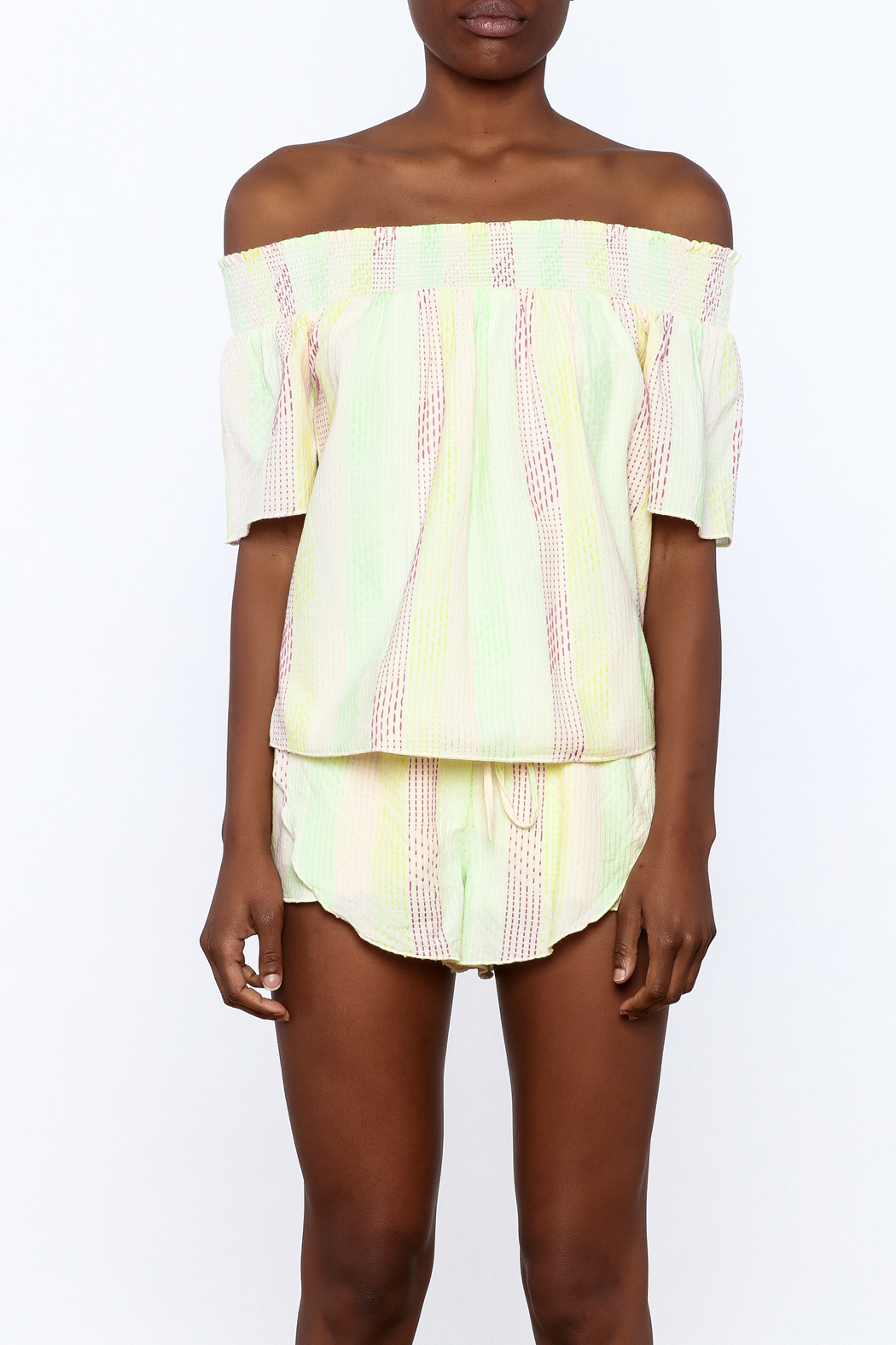 Honey Punch Yellow Stripe Print Top - Side Cropped Image