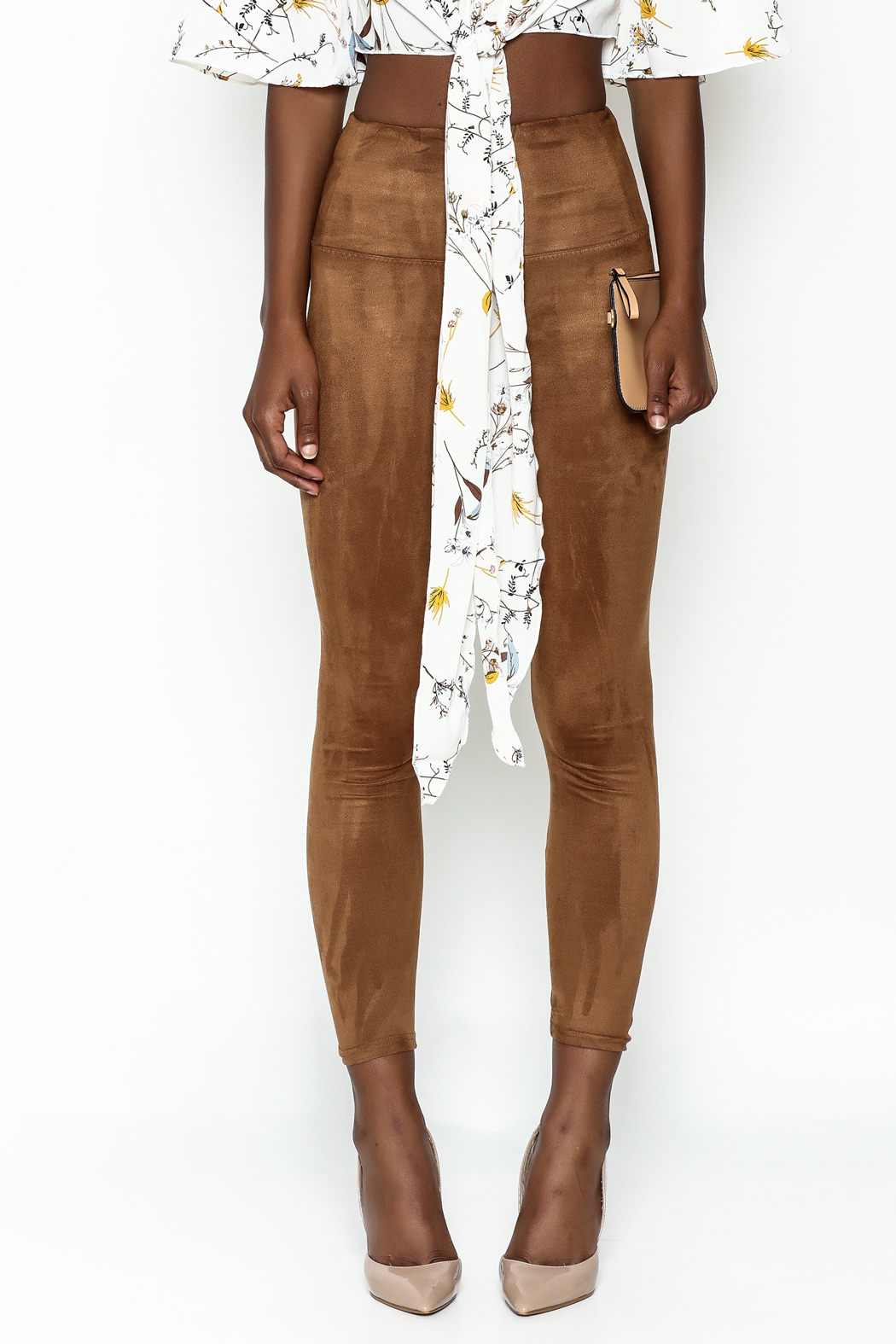 Honey Punch Suede Leggings - Front Full Image