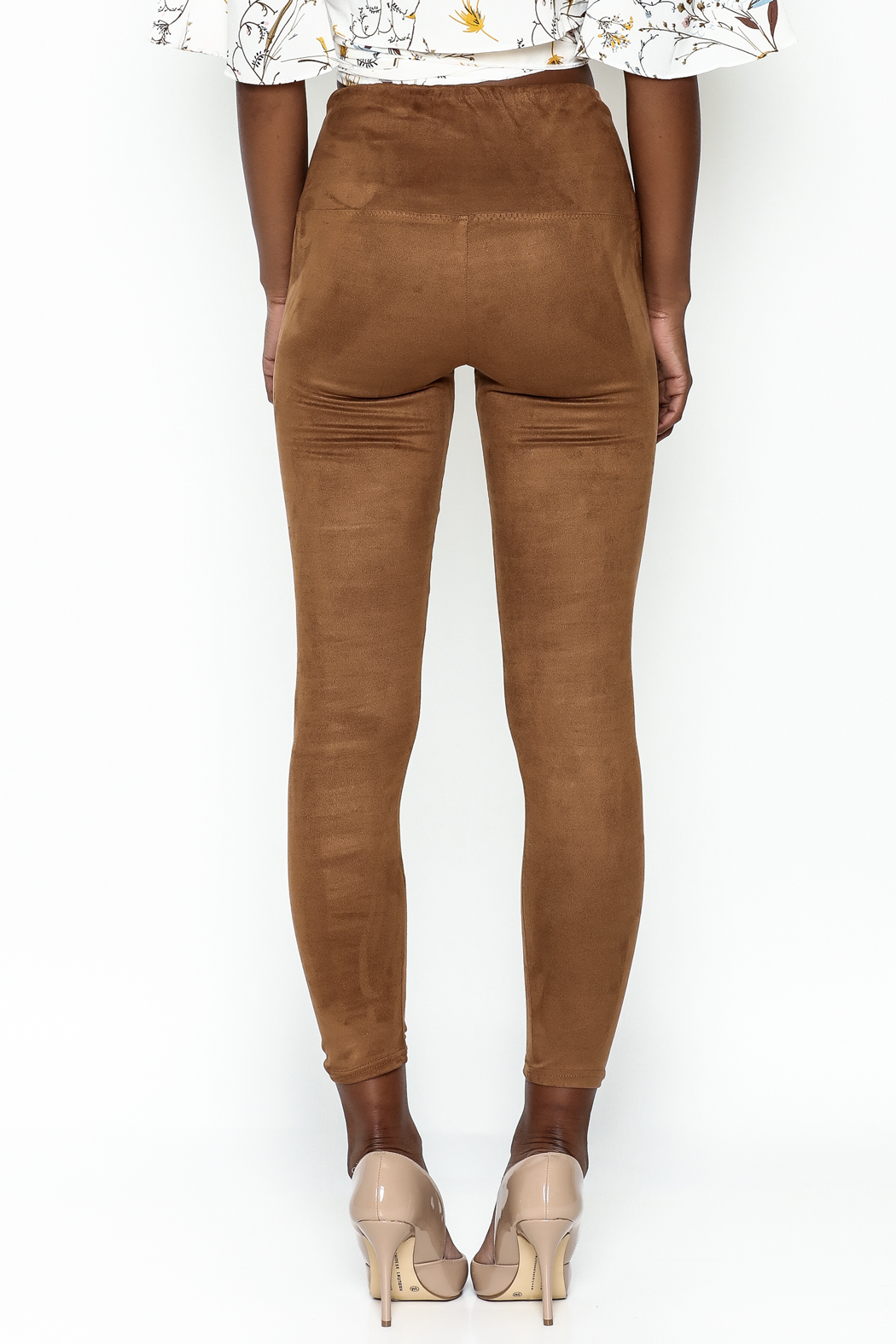 Honey Punch Suede Leggings - Back Cropped Image