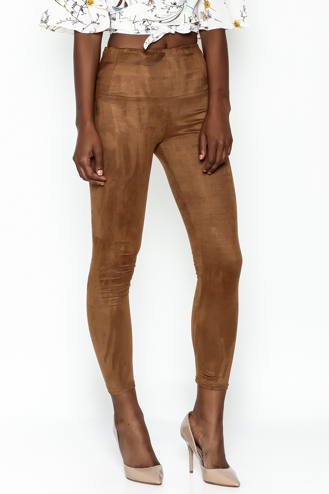 Honey Punch Suede Leggings - Front Cropped Image
