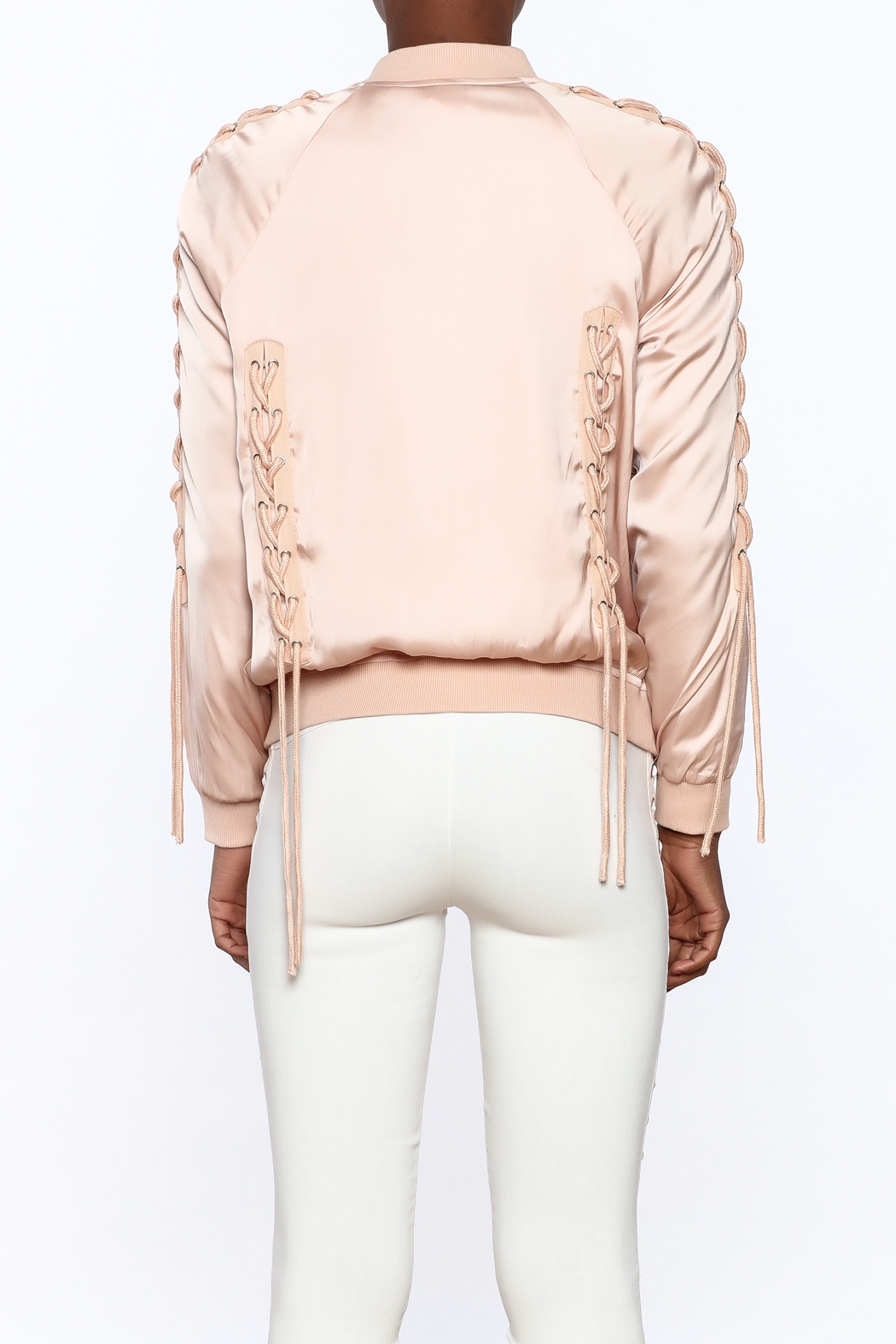 Honey Punch Pink Bomber Jacket - Back Cropped Image