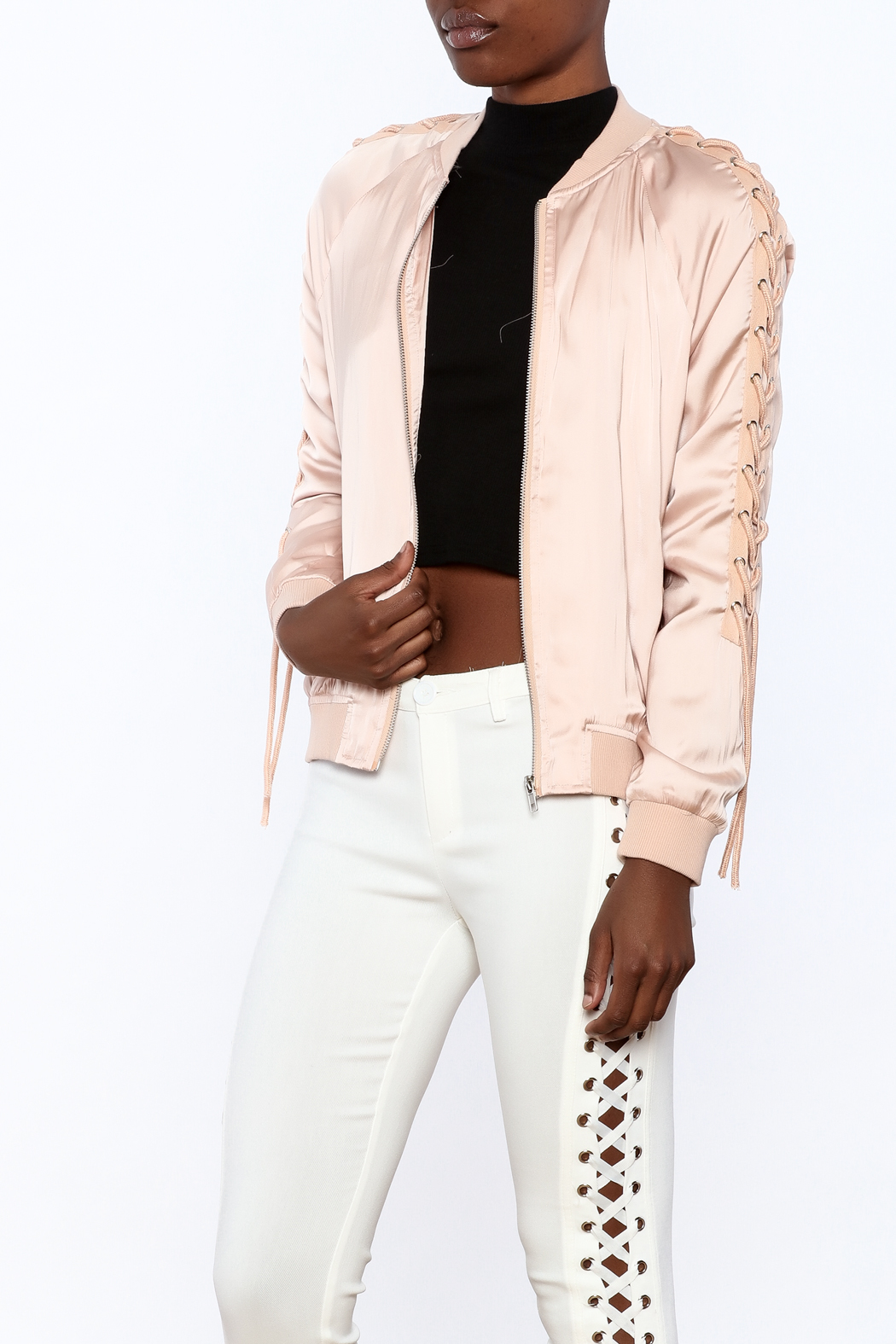 Honey Punch Pink Bomber Jacket - Front Cropped Image