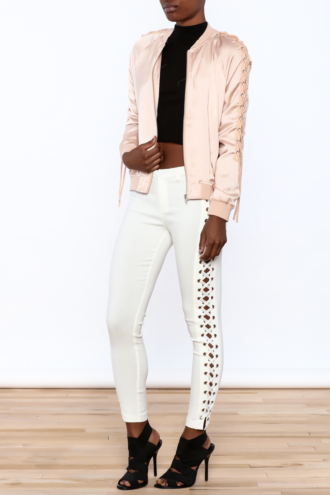 Honey Punch Pink Bomber Jacket - Front Full Image
