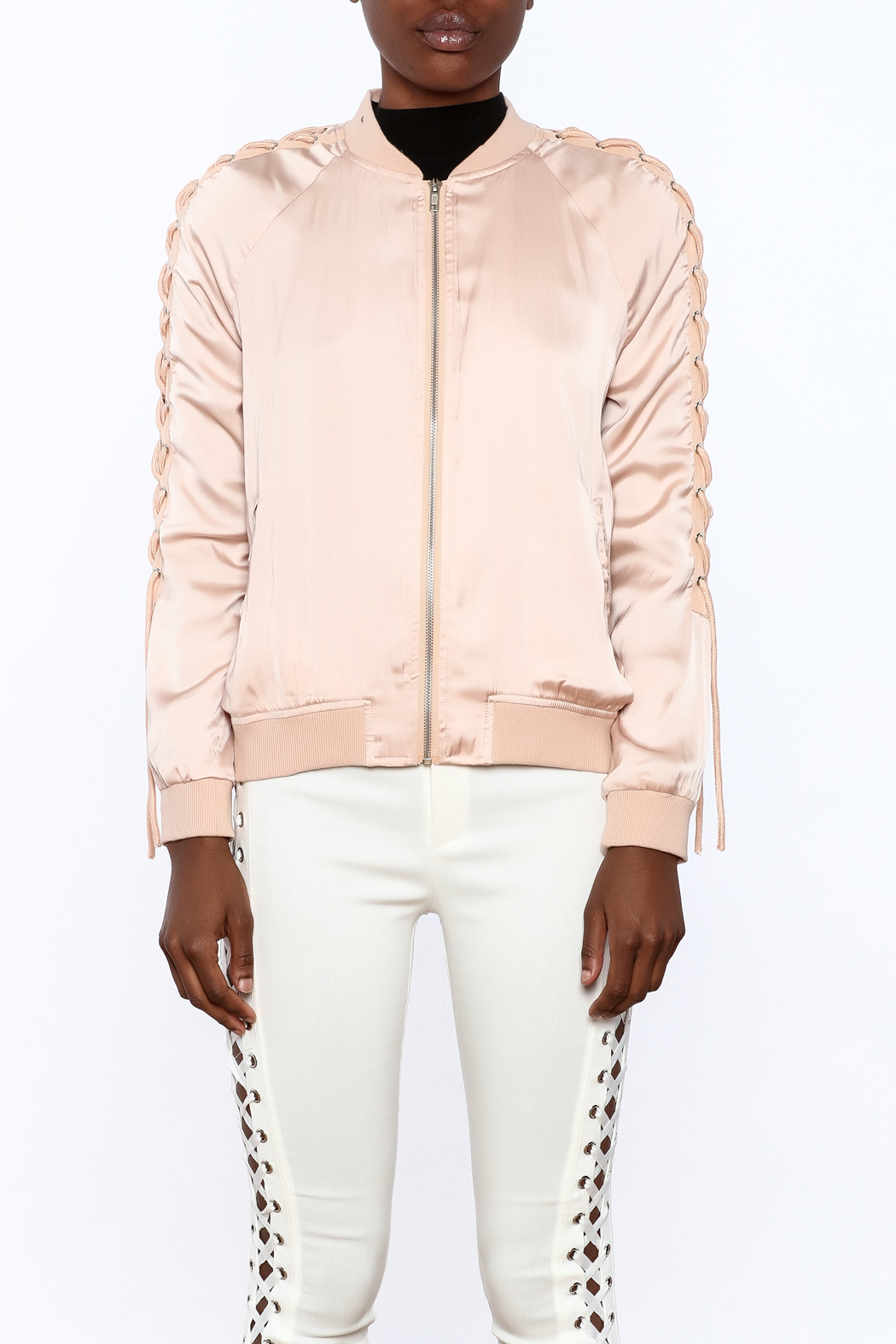 Honey Punch Pink Bomber Jacket - Side Cropped Image