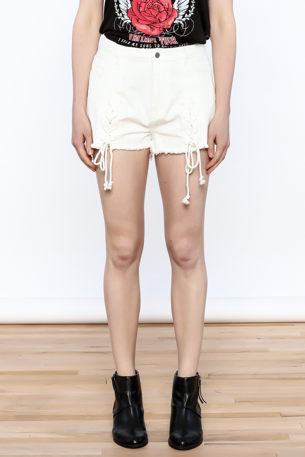 Honey Punch Tie Up Shorts - Front Full Image