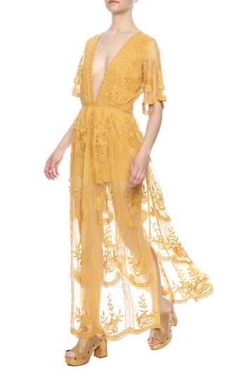 Honey Punch Lace Overlay Romper - Main Image