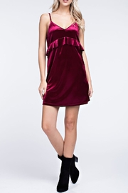 honey belle Burgundy Velvet Dress - Front full body