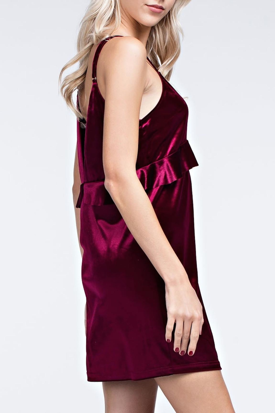 honey belle Burgundy Velvet Dress - Side Cropped Image