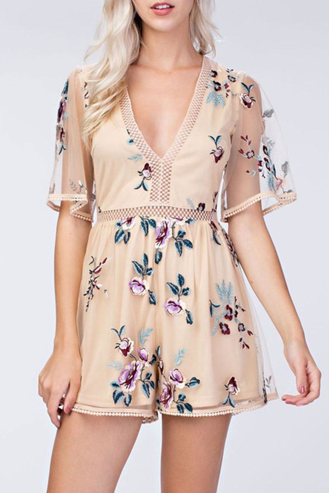honey belle Embroidery Floral Romper - Main Image