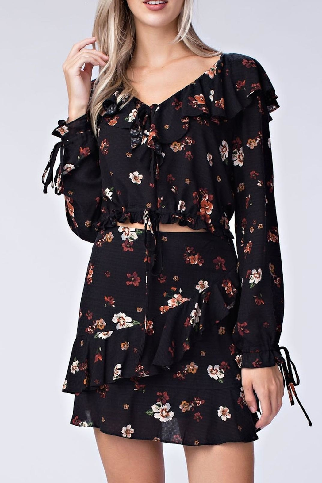 honey belle Floral Ruffle Top - Main Image