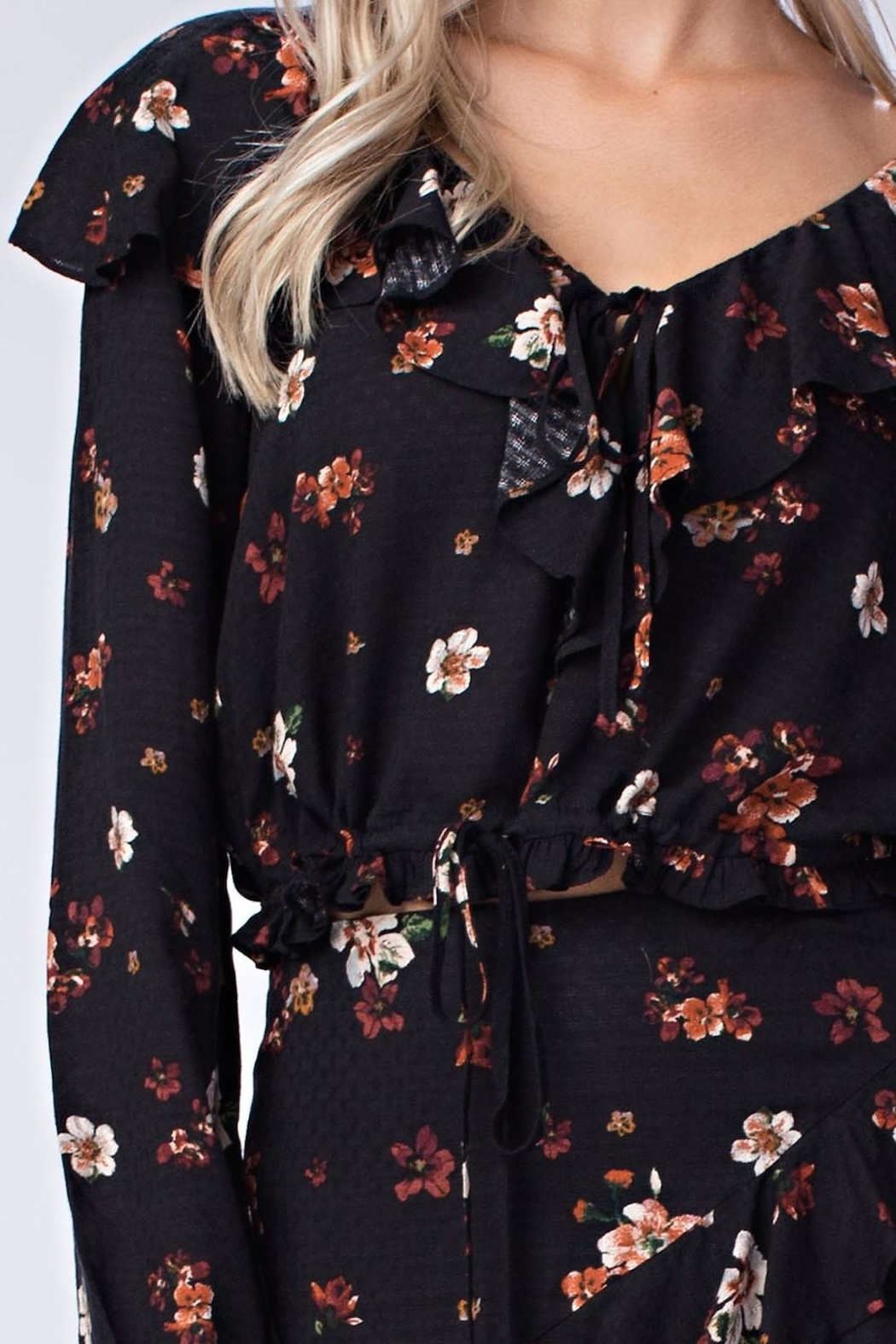 honey belle Floral Ruffle Top - Back Cropped Image