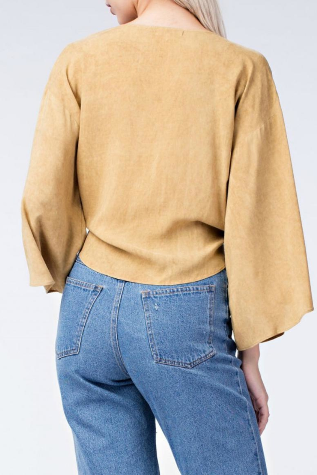 honey belle Mustard Tie Top - Front Full Image