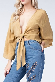 honey belle Mustard Tie Top - Front cropped