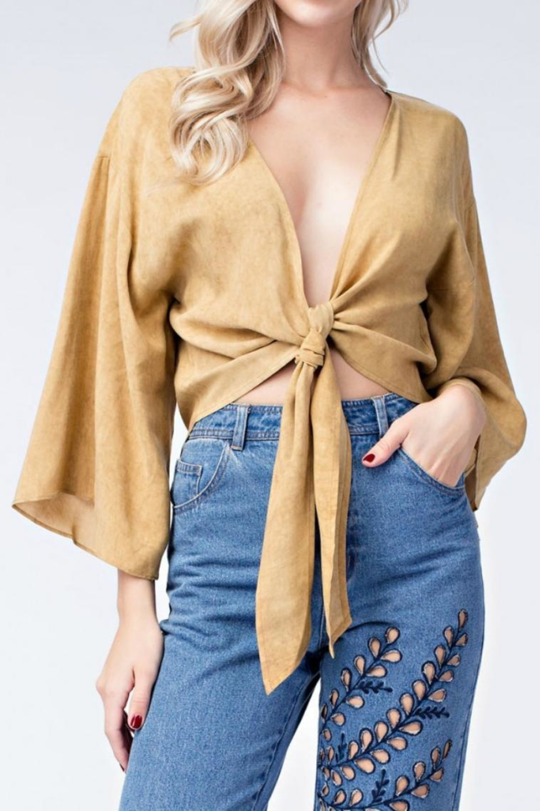 honey belle Mustard Tie Top - Side Cropped Image